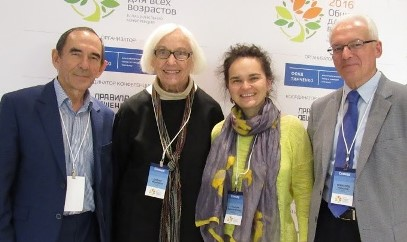 "(L to r) Pass It On Network's liaisons who presented at the ""Culture of Ageing"" conference: (from left to right) Afruz Minnigaleeva, Jan Hively, Gulnara Minnigaleeva, and Vsevolod Rozanov."